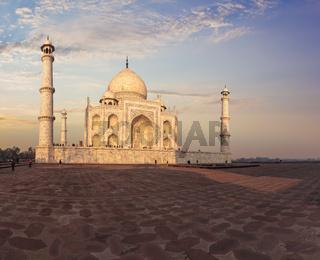 Taj Mahal in Agra, India, eastern view in the sunrays