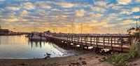 Sunrise over Naples City Dock in Naples, Florida.