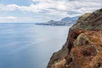 Coast Madeira with view at capital city Funchal