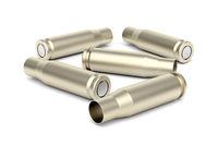 A few empty bullet cartridges