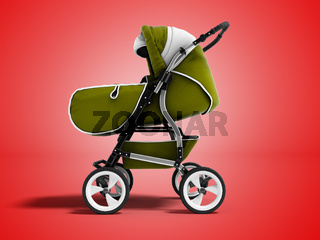 Modern green baby stroller transformer all-season 3d render on red background with shadow