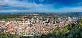 Panoramic view of Xativa town, Valencia, Spain