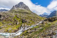 Typical Norwegian landscape with a river and rapids
