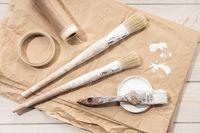 Set of painting tools brushes, masking tape, paper