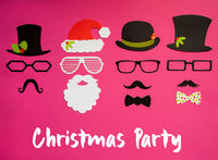 Santa Claus, Set Of Mask, Hat, Mustache, Pink Background, Christmas Party