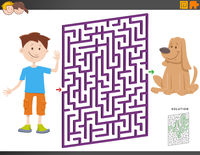 maze game with cartoon boy and puppy dog