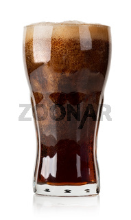 Cola with ice cubes isolated