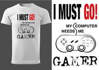 Weißes T-Shirt Design für Computerspiel Spieler