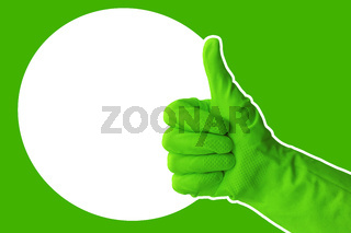 Hand in green protective rubber glove. Approved gloved hand thumbs up