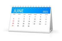 table calendar 2021 june