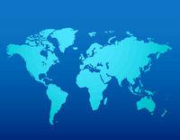 Blue similar world map blank on dark background for infographic. Vector illustration.