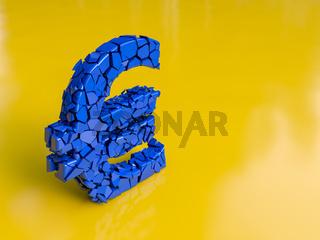 Blauer Euro zerbricht