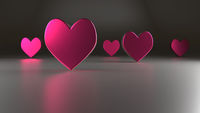 Pink heart shapes, 3d rendering