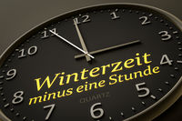 daylight saving winter time minus one hour modern black clock style