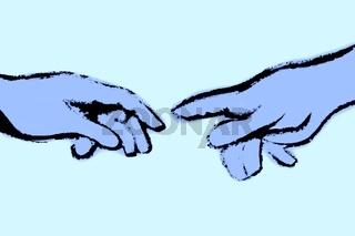 Michelangelos Fingerzeig blau