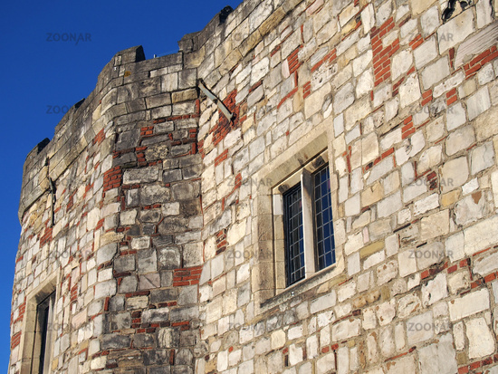 a close up of a corner turrets on Lendal Tower the 14 th century defensive structure and water tower near the river ouse in the city of york
