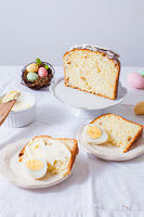White plates with pieces of Paska bread and boiled eggs