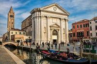 Venice, Italy - 03/16/2019 - Canal at Campo San Barnaba