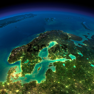 Night Earth. Europe. Scandinavia
