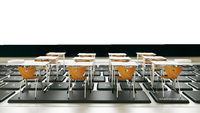 online education, classroom on computer keyboard realistic 3D rendering