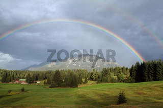 double rainbown over Bavarian Alps