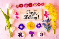 Spring Flat Lay, Flowers, Sign, Calligraphy Happy Birthday