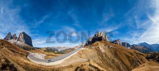 Autumn alpine Dolomites rocky  mountain scene, Sudtirol, Italy. Peaceful view near Sella Pass.