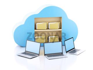 business laptop pc. Cloud computing concept.