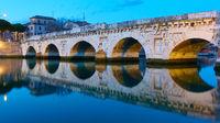 Bridge of Tiberius in Rimini and its reflection