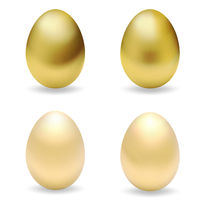 Realistic golden easter eggs. Set of gold 3d eggs