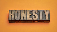 honesty word abstract in vintage letterpress wood type