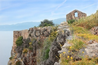 Ruins of ancient Greek town Monemvasia at coast
