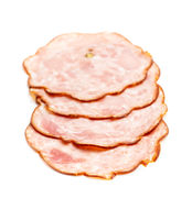 Sliced salami sausage. Smoked ham.