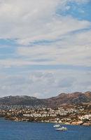 Mediterranean coast and cloudy sky, beautiful panoramic sea view and coastal nature