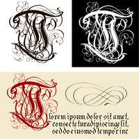 Decorative Gothic Letter T. Uncial Fraktur calligraphy.