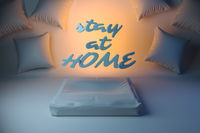 Stay at home inscription. Self isolation Coronavirus Wuhan, China COVID-19. Epidemic condition 3d illustration with room and pillows