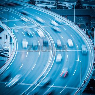 car motion blur on the approach bridge