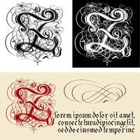 Decorative Gothic Letter Z. Uncial Fraktur calligraphy.