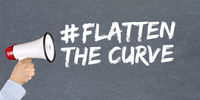 Flatten The Curve hashtag stay at home Coronavirus corona virus disease ill illness megaphone