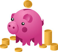 Moneybox in the form of ceramic pig with a coins falling into it. Concept of saving money. Vector