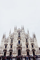 Milan Cathedral known as Duomo di Milano, historical building and famous landmark in Lombardy region in Northern Italy