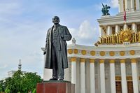 Moscow, Russia - august 25, 2020: The main pavilion and the monument to Lenin at VDNH