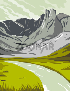 Gates of the Arctic National Park and Preserve Oolah Valley in Alaska United States WPA Poster Art Color