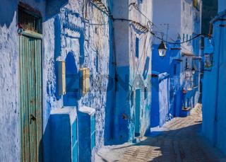 Narrow blue street in Chefchaouen, Medina, Morocco
