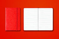 Red closed and open lined notebooks isolated on colorful background