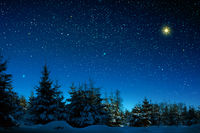 Christmas star on night abstract sky. Abstract Background.