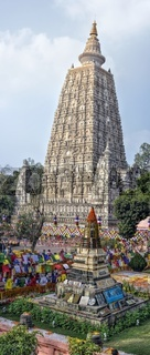 Beatifully decorated tower of buddhist Mahabodhi Temple complex in Bihar