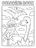 Coloring book dinosaur composition image 5
