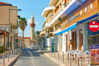Street with minaret in Limassol