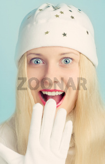Happy blonde girl in Christmas time, woman with positive emotion in winter season for shopping sale and holiday brand